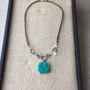 Silpada Aqua Grace leather sterling necklace